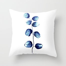 Dark blue eucalyptus Throw Pillow