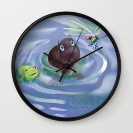 Frog, Turtle And Dragonfly Wall Clock