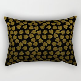 Gold Metallic Foil Photo-Effect Monstera Giant Tropical Leaves Faded on Solid Black Rectangular Pillow