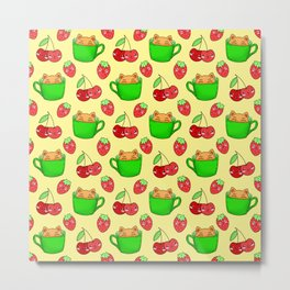 Cute happy playful funny Kawaii baby kittens sitting in little green espresso coffee cups, ripe yummy red summer cherries and strawberries fruity pastel bright sunny yellow design. Metal Print