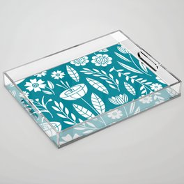 Blooming Field - teal Acrylic Tray