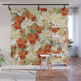Poinsettia Collage Wall Mural