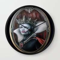 evil queen Wall Clocks featuring Evil Queen by Yehsiming Jue