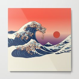 The Great Wave of Dachshunds Metal Print