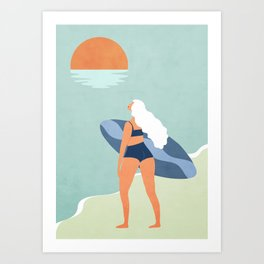 After surfing color 1 Art Print