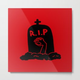 Zombie Exiting Grave (Silhouette) Metal Print
