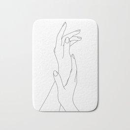Hands line drawing illustration - Dia Bath Mat