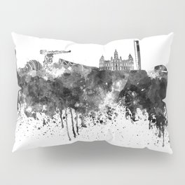 Glasgow skyline in black watercolor Pillow Sham