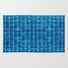Ocean Blue and Pale Velvety Gingham Plaid Texture Rug