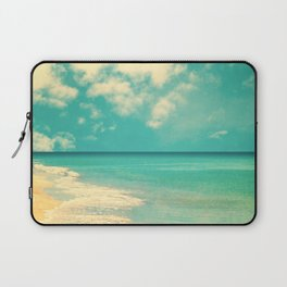 Retro beach and turquoise sky (square) Laptop Sleeve