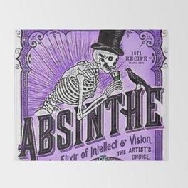 Vintage 1871 Purple Absinthe Liquor Skeleton Elixir Aperitif Cocktail Alcohol Advertisement Poster Throw Blanket