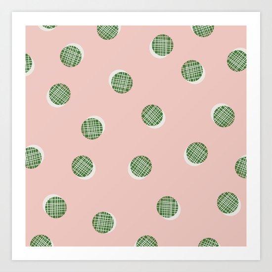 Mixed Dots - in Peach Art Print