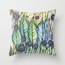 Dandelions.Hand draw  ink and pen, Watercolor, on textured paper Throw Pillow