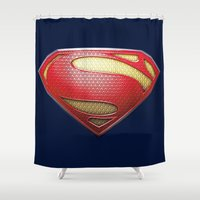 superman Shower Curtains featuring Superman by DeBUM