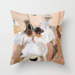 Under The Awning, On The Beach at Zarauz - Sorolla Throw Pillow