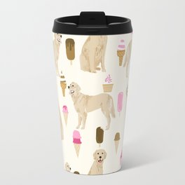 Golden Retriever dog breed pet portrait ice cream custom pet illustration by pet friendly Travel Mug