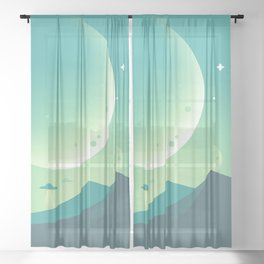Ufo in the planet Sheer Curtain