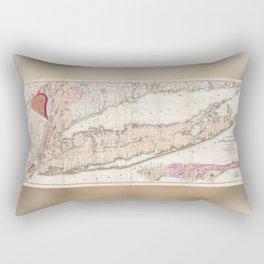 Long Island New York 1842 Mather Map Rectangular Pillow