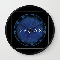 dallas Wall Clocks featuring Dallas by Sally Sparkshine