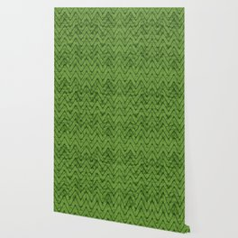 Velvety Lime Green Zigzag Chevron Pattern Wallpaper