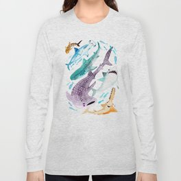 Help Stop Shark Finning - Watercolor Ocean Animals - Fish Long Sleeve T-shirt