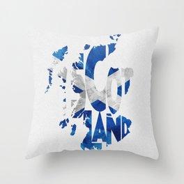 Scotland Typographic Flag / Map Art Throw Pillow