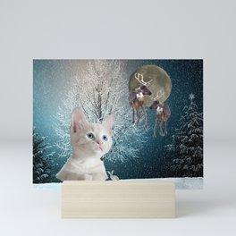 White Cat and Reindeers Mini Art Print