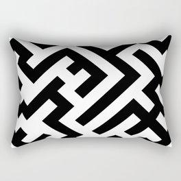 Black and White Diagonal Labyrinth Rectangular Pillow