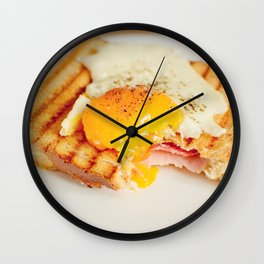 Toast with fried egg Wall Clock