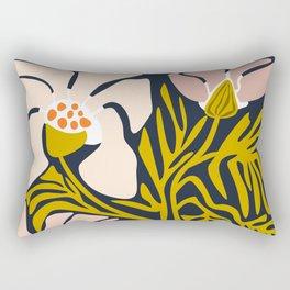Backyard flower – modern floral illustration Rectangular Pillow