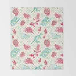 Beautiful Australian Animals and Flowers on Gold Polka Dots Throw Blanket