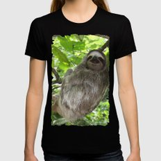 Sloths in Nature MEDIUM Womens Fitted Tee Black