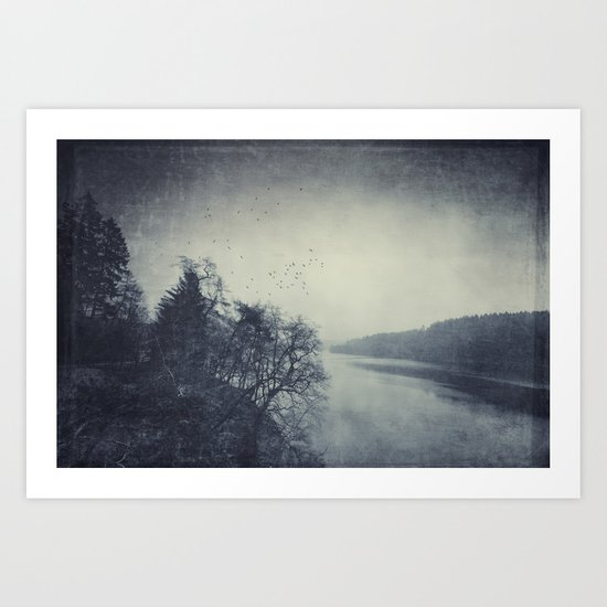 a murder of crows over a cold lake Art Print