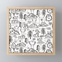 Woodland Animals Large Framed Mini Art Print