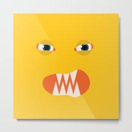 Angry Yellow Face Metal Print