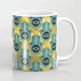 Decorative Hamsa Hand pattern on gold Coffee Mug