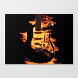 Burning Guitar Canvas Print