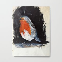 Robin Wild UK Garden Bird Acrylics On Paper Metal Print