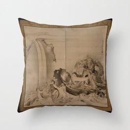 Soga Shōhaku - Two Figures (most likely Ryo Douhin receiving the Taoist law from Shou Rikken) Throw Pillow