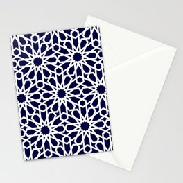 Moroccan Grid Blue Stationery Cards