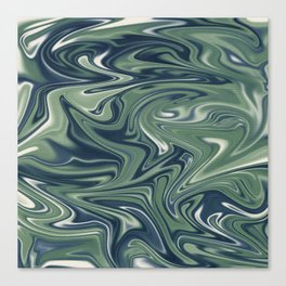 Digital marbling in blue and green tones Canvas Print