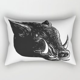 Razorback Wild Boar Scratchboard Rectangular Pillow