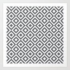 Geometric Pattern #170 (gray squares) Art Print