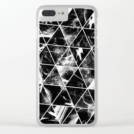 Geometric Whispers - Abstract, black and white triangular, geometric pattern Clear iPhone Case
