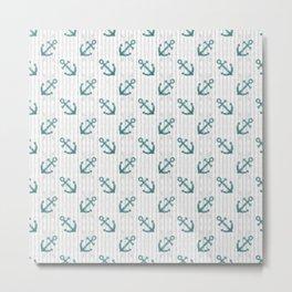 Teal Anchor Pattern Metal Print
