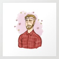 chris evans Art Prints featuring Beardy Evans by Otterpop