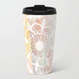 Zen white mandala on pink Travel Mug