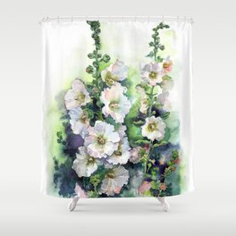 Watercolor Hollyhocks white flowers Shower Curtain