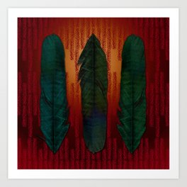 Feathers at campfire Art Print