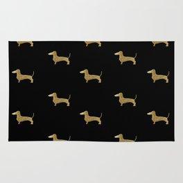 Dachshund Dog Gold Glitter Pattern Rug
